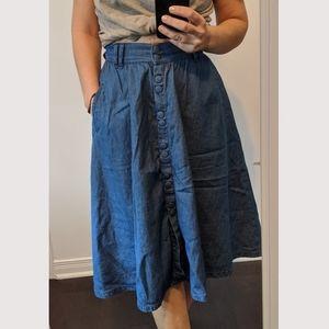 Zara chambray  rockabilly skirt